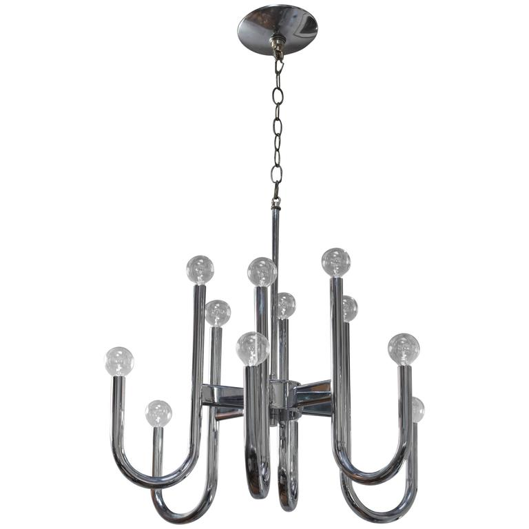 1970s Modern Chrome Chandelier by Lightolier