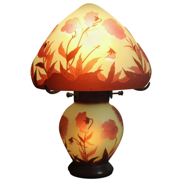 Galle Cameo Glass Table Lamp For Sale