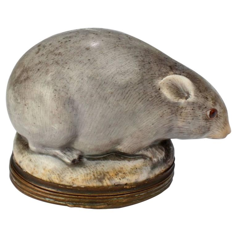Antique 18th Century Mennecy Figural Mouse Snuff or Patch Box
