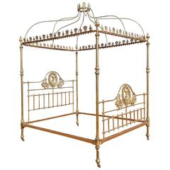 Wide Brass Four Poster Bed with Crown and Canopy, M4P19