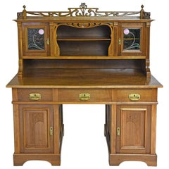 Art Nouveau Walnut Pedestal Desk with Upper Cabinet and Stained Glass, C. 1900
