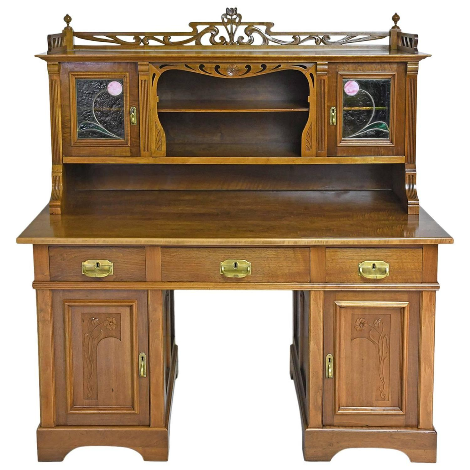 Art Nouveau Walnut Pedestal Desk With Upper Cabinet And Stained Glass C 1900 For At 1stdibs