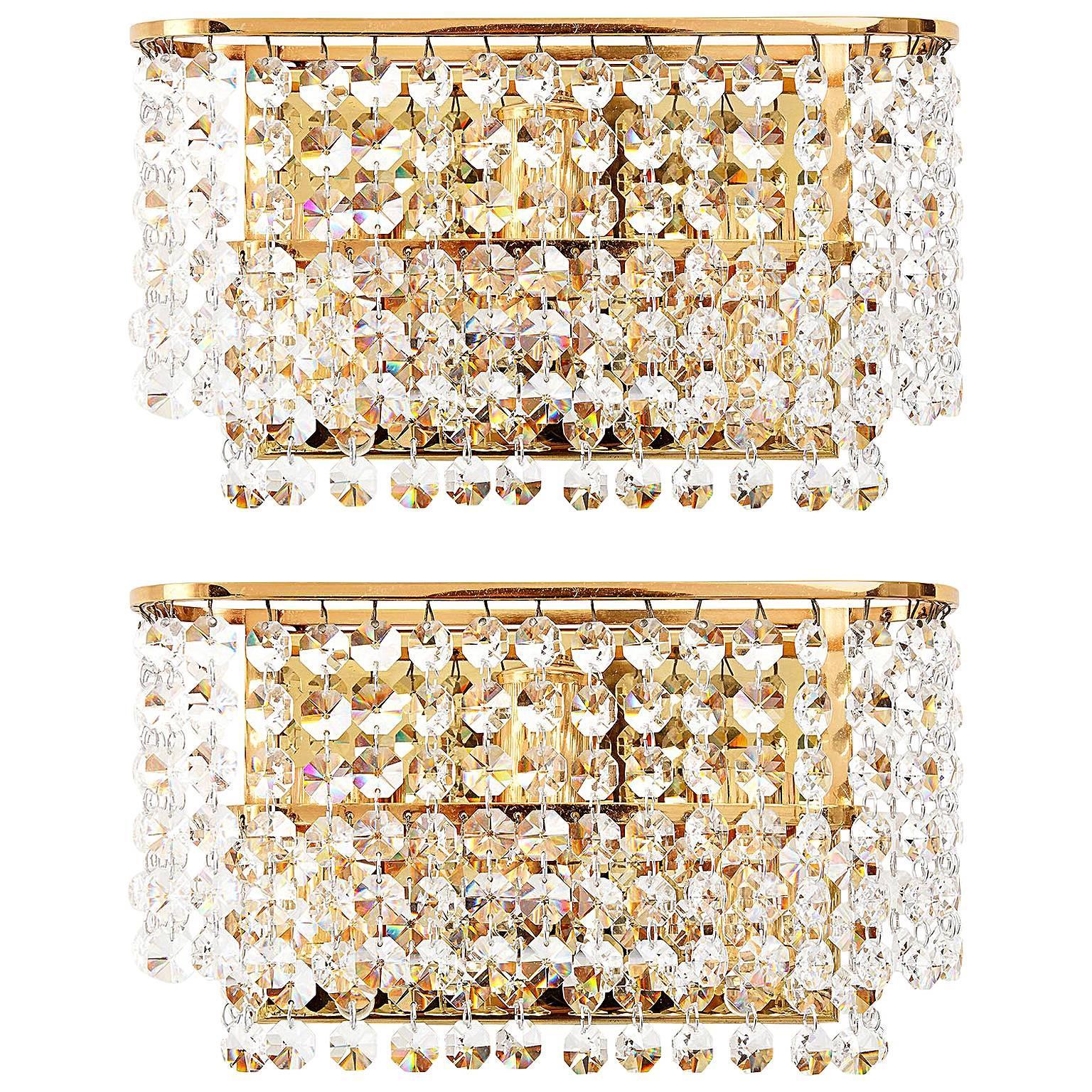 Palwa Sconces, Crystal Glass Brass, 1960s