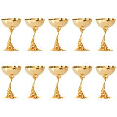 Set of Ten Chalices Signed Gabriella Crespi