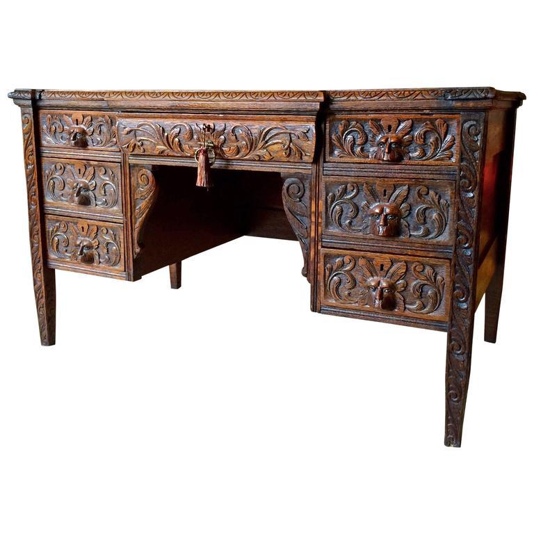 Antique Desk Solid Oak Green Man Heavily Carved Victorian 19th Century For  Sale - Antique Desk Solid Oak Green Man Heavily Carved Victorian 19th