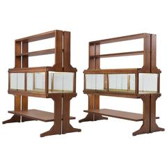 Set of Two Illuminated Italian Vitrines in Walnut and Brass