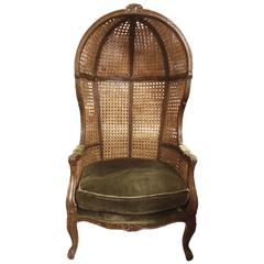 Vintage French Caned Hooded Armchair