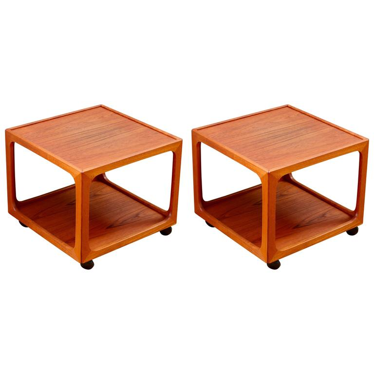 Mid Century Pair Of Teak Rolling Side Tables By BR Møbler Gelsted, Denmark  For