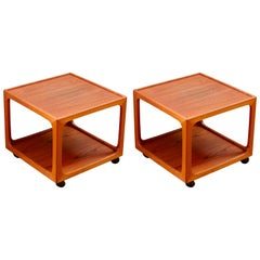 Mid-Century Pair of Teak Rolling Side Tables by BR Møbler Gelsted, Denmark