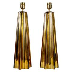 Pair of Table Lamps in Mirror and Gold Amber Murano Glass