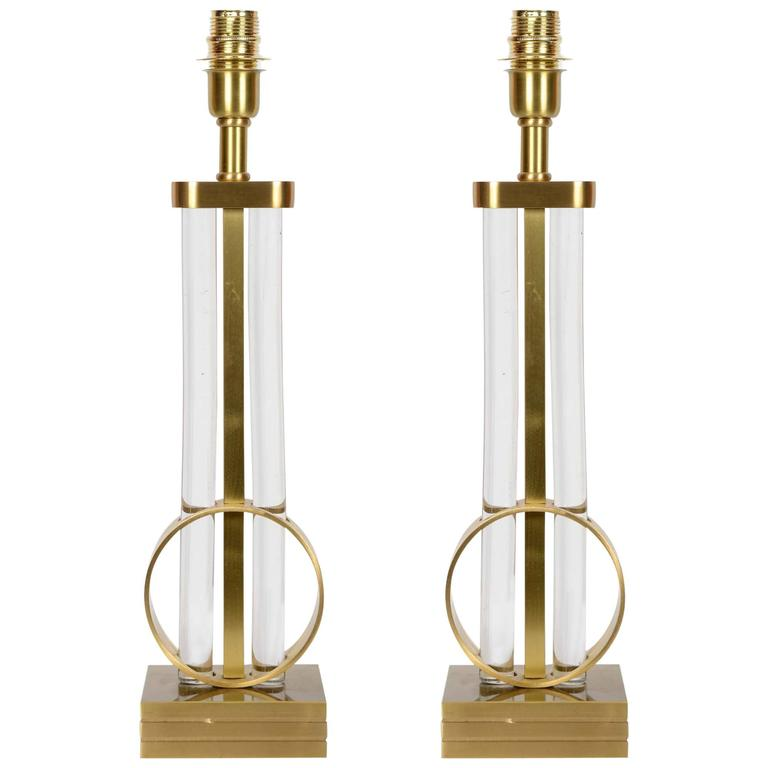 Pair of Lamps in Bronze and Crystal
