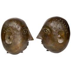 Pair of Bronze Andirons Monogrammed DG