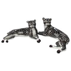 Pair of Antique Samson Porcelain Snow Leopard Figurines