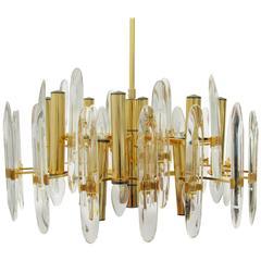 1970s Brass and Crystal Chandelier by Gaetano Sciolari