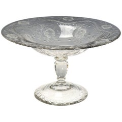 Webb Monumental Blown Crystal Footed Centerpiece w/ Wheel Cut Floral Engraving