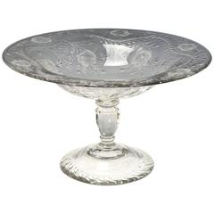 Webb Monumental Crystal Footed Centerpiece with Wheel Cut Floral Engraving