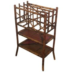 Antique English Victorian Bamboo Magazine Stand, 19th Century