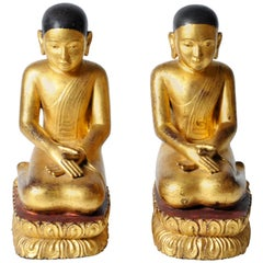 Pair of Giltwood Buddhist Apostles