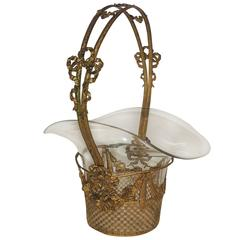 Wonderful French Centerpiece Gilt Bronze Open Weave Glass Crystal Basket Bows