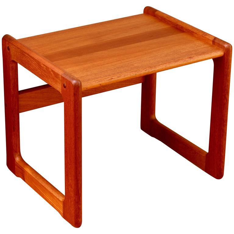 Vintage Mid Century Danish Solid Teak Side Table Attributed To Dyrlund C 1960