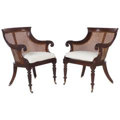 Pair of Regency Style Cane Library Chairs