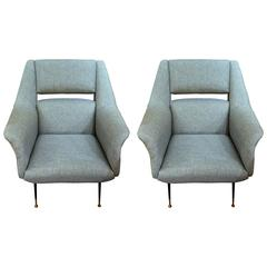 Pair of Large Italian Mid-Century Slate Blue Lounge Chairs
