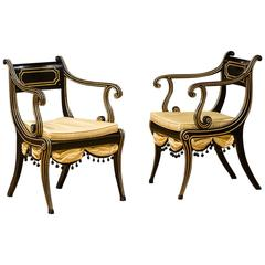 Pair of French Regency Open Armchairs