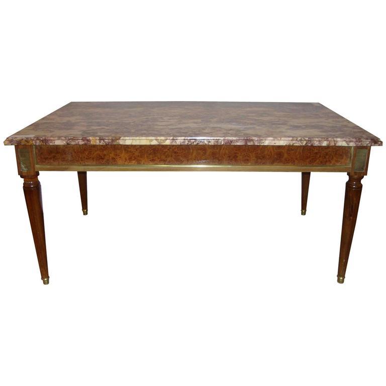 Maison Jansen Louis XVI Style Marble-Top Coffee Table