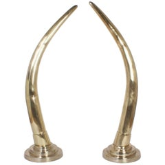 Large Midcentury Pair of Brass Elephant Tusks