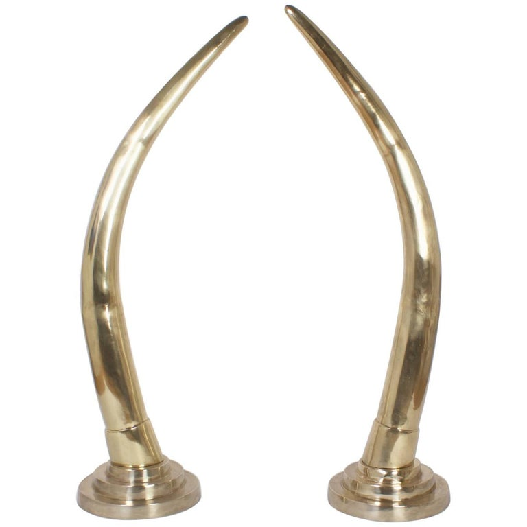 Large Midcentury Pair of Brass Elephant Tusks For Sale