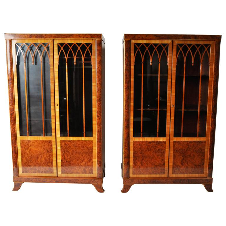 Pair of Lingel Glass Front Armoires