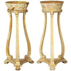 Pair of Italian Carved Wood Pedestal Style Jardinière or Plant Stands