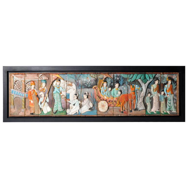 Southeast Asian Hand-Painted Figural Panel