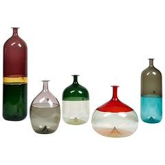 "Collection of Five ""Bolle"" Blown Glass Vessels by Tapio Wirkkala for Venini"