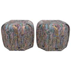 Pair of Pleated and Box Stitched Upholstered Poufs by Preview Furniture