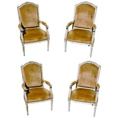 Four Chairs of Italian 19th Century Neoclassical Armchairs