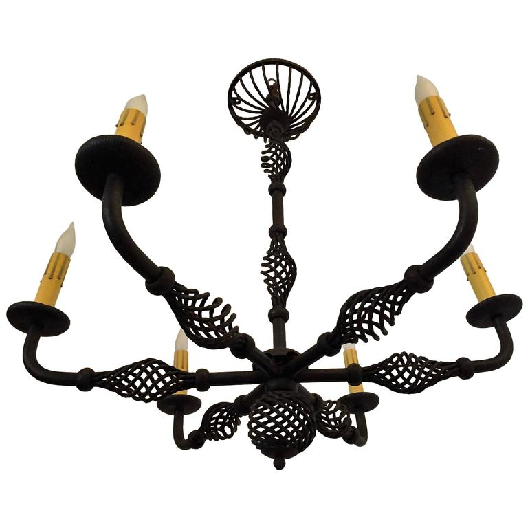 French Moderne 1940s Iron Chandelier For Sale