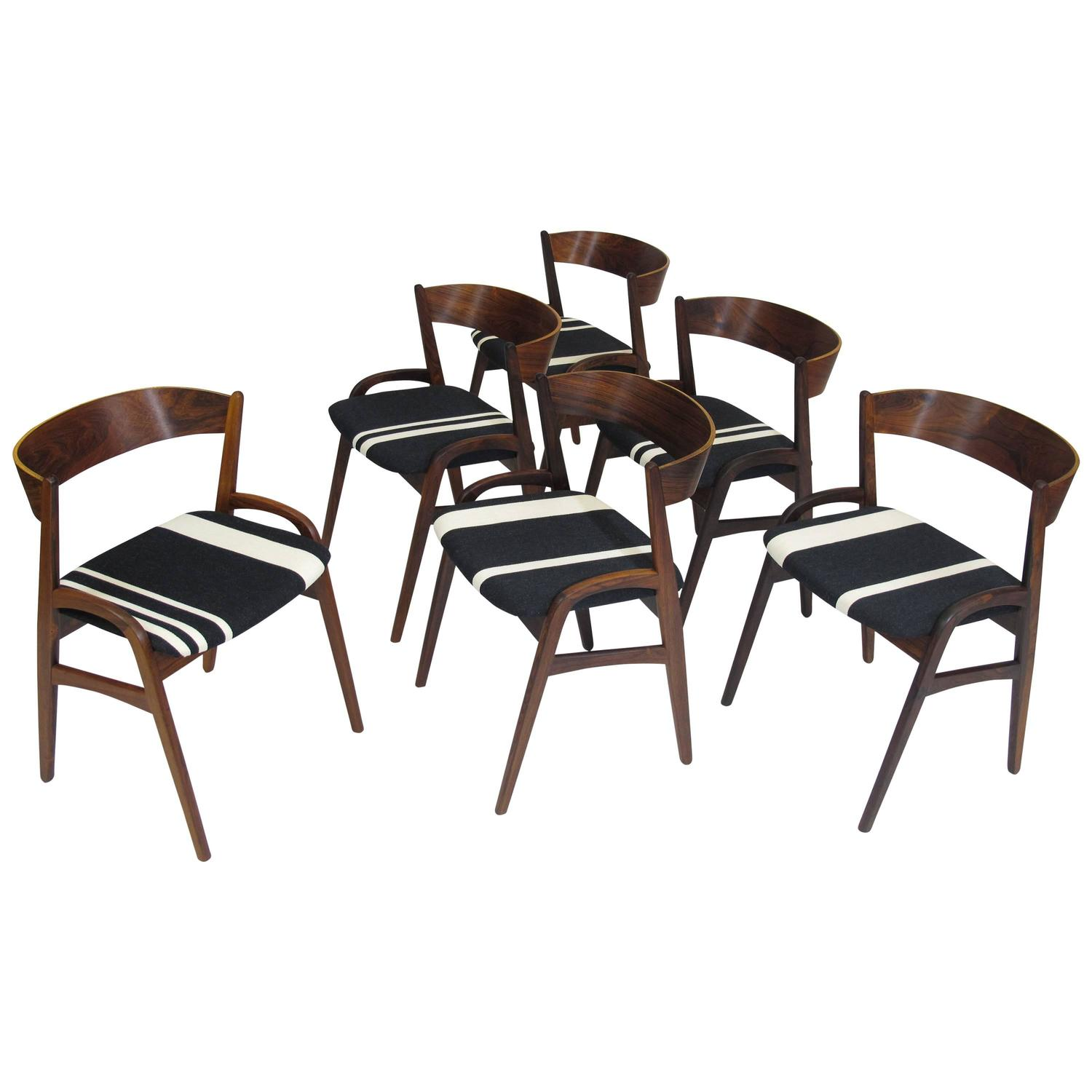 Black And White Dining Chair: Six Rosewood Danish Dining Chairs In Black/White Striped