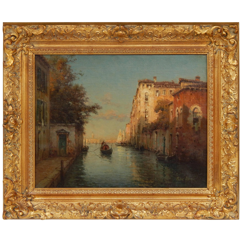 Antoine Bouvard (Marc Aldine) Oil on Canvas, Twilight, Venice