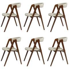 Six Midcentury Danish Walnut Danish Dining Chairs