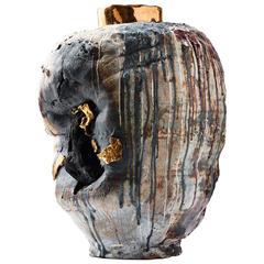 """Mammon, Tarnished ""Black Rock Series"" Contemporary Porcelain Vessel by Gareth M"
