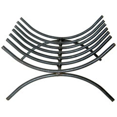 George Nelson Style Wrought Iron Log Holder Shaped Like a Minimalist Ribcage