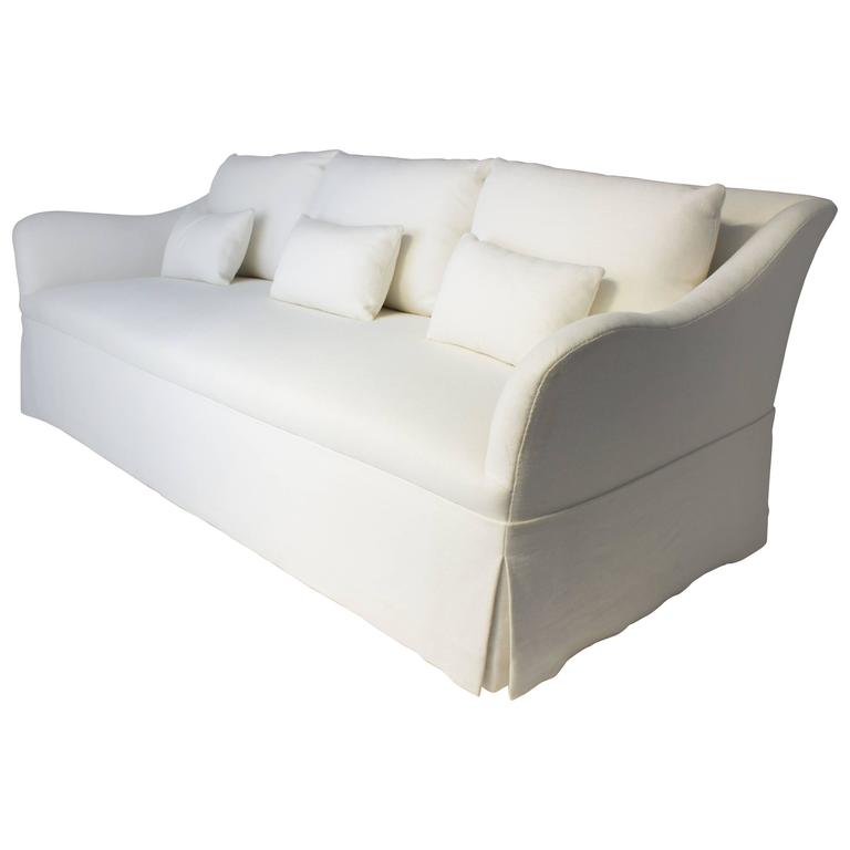 Custom Fabricated Sofa With Six Loose Back Cushions In Cream Linen