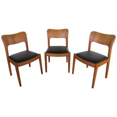 Set of Three Teak Dining Chairs by Koefoed Hornslet with Leather Seats