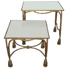Pair of Bronze and Mirror Stack Tables