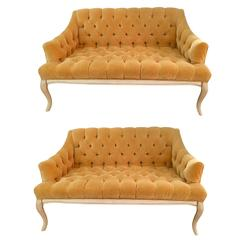 Pair of Tufted Velvet Settees