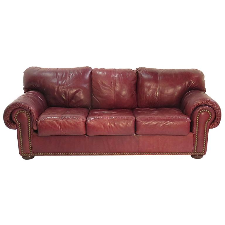 1980s Leather Sleeper Sofa