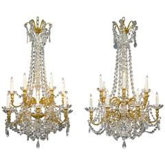 Pair of Baccarat Crystal and Bronze Chandeliers