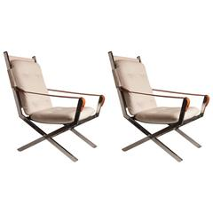 Pair of Mid-Century Italian Armchairs Chrome with Hermes Style Leather