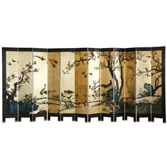 Antique Chinese 12 Panel Double Sided Gild and Black Lacquered Coromandel Screen
